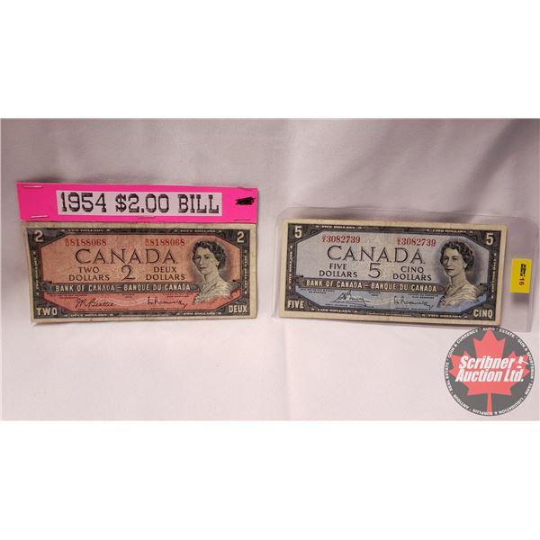 Canada Bills 1954 (2): $5 Bouey/Rasminsky UX3082739 & $2 Beattie/Rasminsky BU8188068