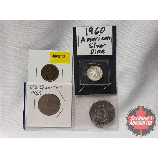 USA Coins (4): 1906 One Cent; 1966 Quarter; 1960 Dime; 1980 Half Dollar