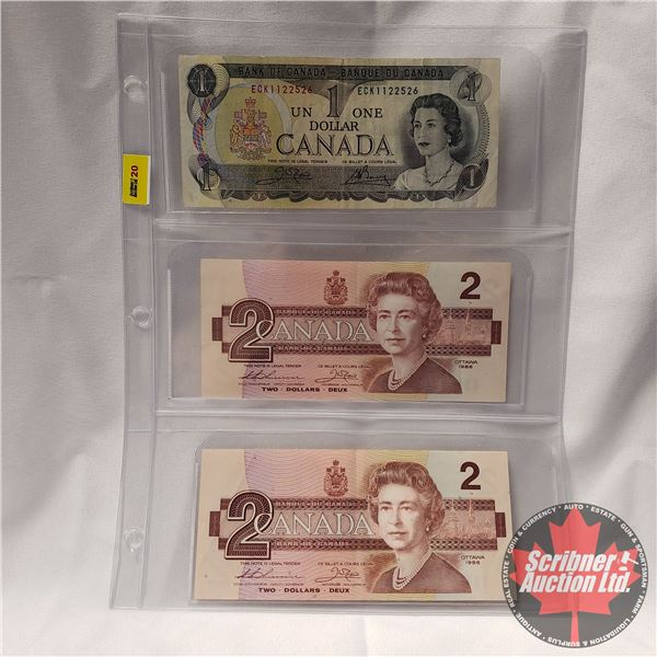 Canada Bills (3): 1973 $1 ; 1986 $2; 1986 $2 (See Pics for Signatures/Serial Numbers)
