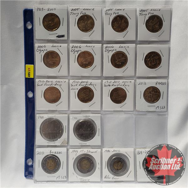 Canada One Dollar & Two Dollar (Sheet of 18 - VARIETY) (12 Loonies; 2 Dollars; 4 Toonies)