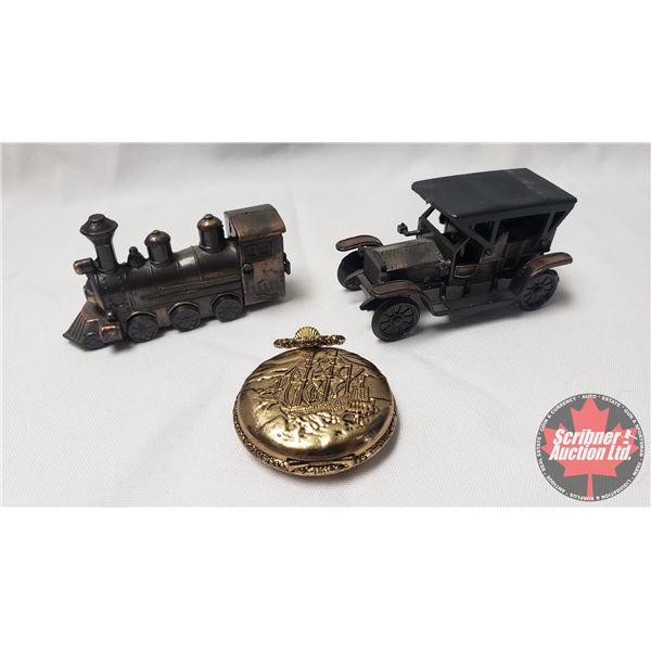 "Collector Combo : Pocket Watch ""Ship"" & 2 Pencil Sharpeners (Train & Car)"