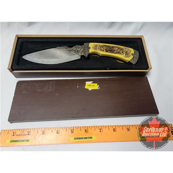 """Decorative Knife with Display Box """"Elephant"""" (Etched Blade / Carved Handle) (Box 1-1/2""""H x 10-3/4""""W"""