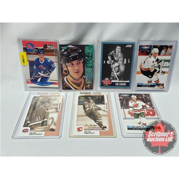 Variety Hockey Cards in Sleeves (7) Mats Sundin, Mario Lemieux, Maurice Richard, Glen Murray, Saku K