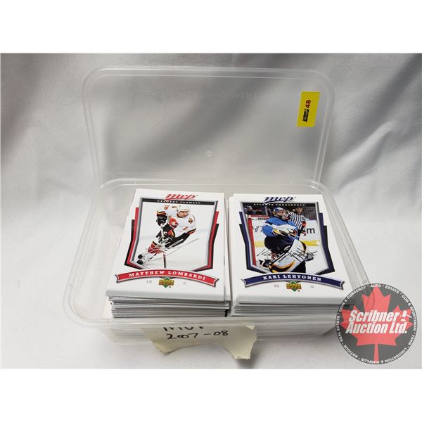 """Hockey Cards Upper Deck MVP 2007-08 in Container (approx. 130+) (SEE PICS!) (Container = 4-3/4""""H x 6"""