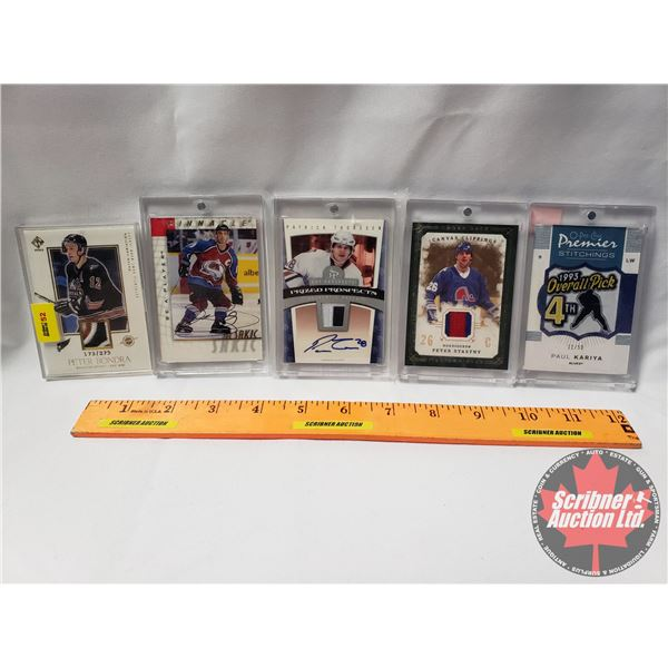 Hockey Cards Collector Combo (5) : (Game Worn - Peter Bondra) ; (Paul Kariya - Stitchings) ; (Game W