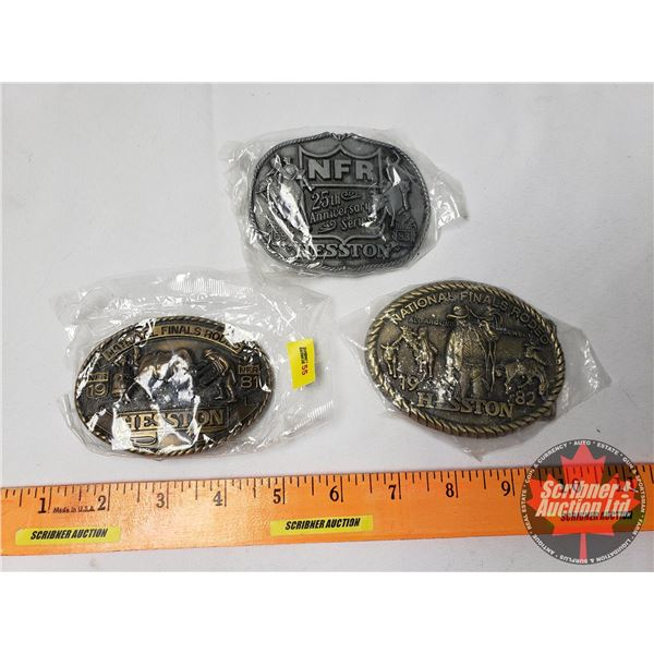 """Hesston Buckles (3): NFR 1981; NFR 1982 """"All Around Cowboy"""" ; NFR 25th Anniversary Series 1983"""