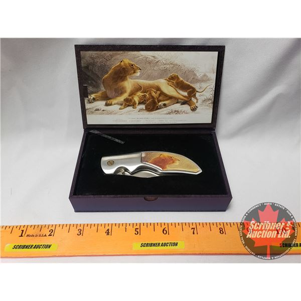 "Decorative Knife with Display Box ""Lioness"" (Box 1-1/8""H x 5-3/4""W x 3-3/8""D) (SEE PICS!)"