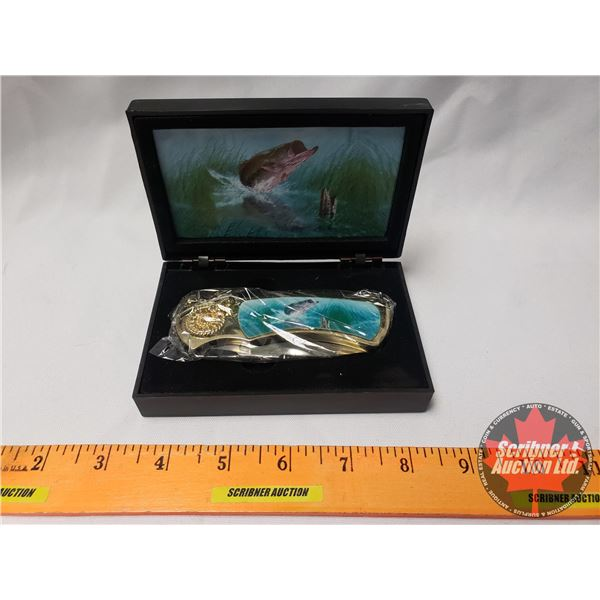 """Decorative Knife with Display Box """"Bass Fish"""" (Box 1-1/4""""H x 5-1/8""""W x 3-1/4""""D) (SEE PICS!)"""