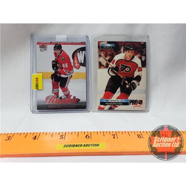 Hockey Cards (2) : Eric Lindros 1992-93 Rookie NHL ProSet & Patrick Kane 2007-08 Fleer Ultra Rookie