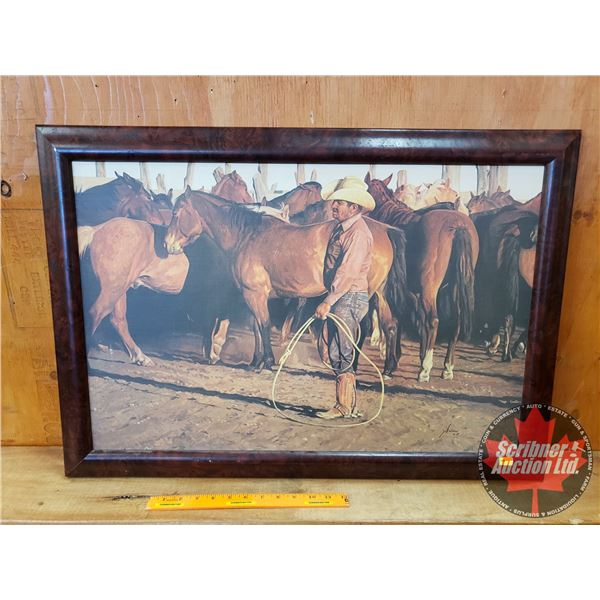 """Framed Print """"Looking For the Old Piebald Mare"""" by """"Snidow"""" (22"""" x 31-1/2"""") Copyright 1979"""
