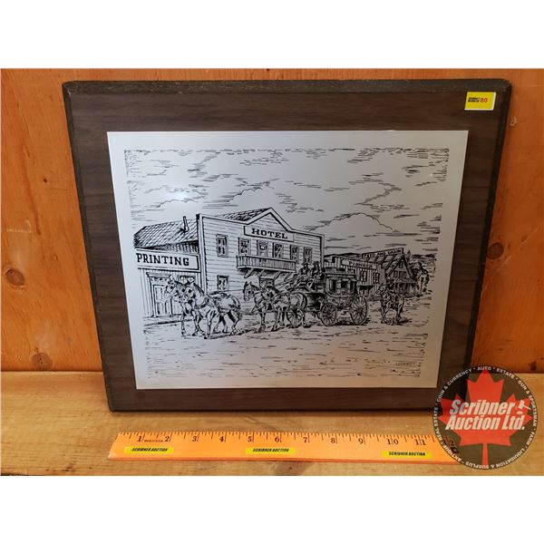 """Metal Etching Wood Plaque Mounted """"Conrad"""" Old West Town (12"""" x 14"""")"""