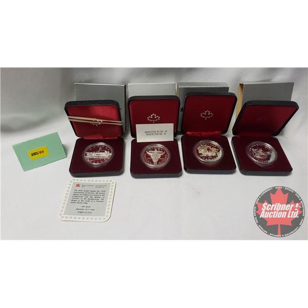 RCM Proof Dollars in Case ~ Collector Combo 4 Pack: 1984 Toronto; 1982 Regina; 1981 Canada; 1983 Edm