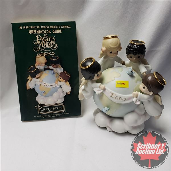"""Precious Moments 1 Figurine & 1 Collector Book :  """"His Love Will Uphold The World"""" 1998 AND 1999 Thi"""