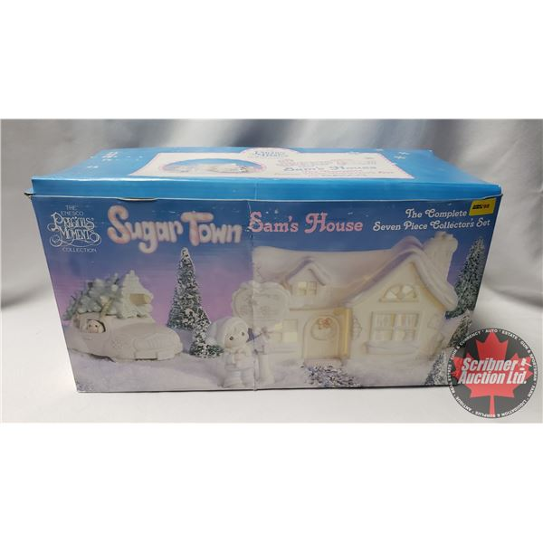 Precious Moments:  Sugar Town Sam's House Complete 7 Piece Collector's Set 1992 Christmas AND Dusty