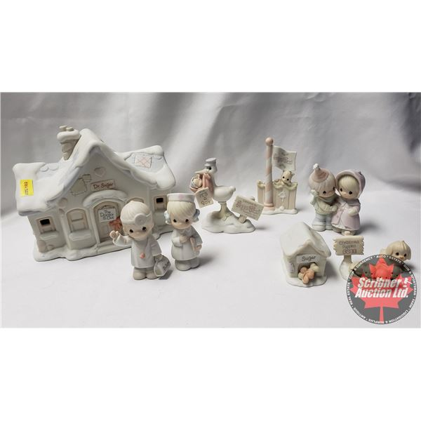 Precious Moments:  Sugar Town Flag Pole Accessory 1996 AND Sugar Town Doctor's Office Set Collectabl