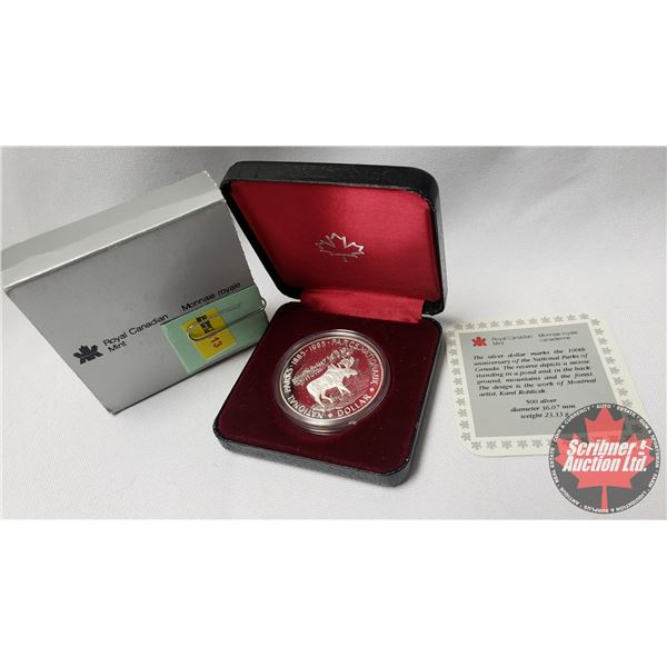 RCM Proof Dollar in Case : 100th Anniversary of the National Parks of Canada 1885-1985