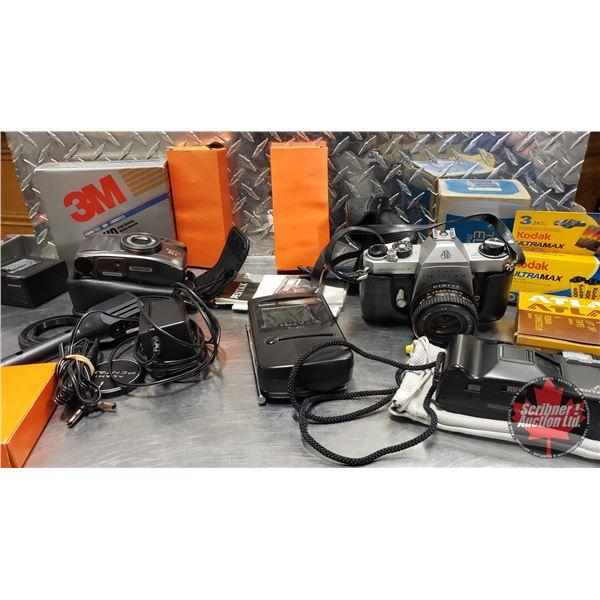 Tray Lot: Vintage Electronics (Incl: Cameras, Pocket Color TV, Film etc) (SEE PICS!)