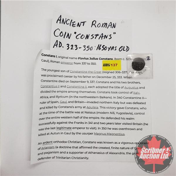 """Ancient Roman Coin """"Constans"""" AD 323-250 (SEE PICS)"""