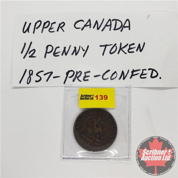 Bank of Upper Canada 1857 Bank Token One Half Penny