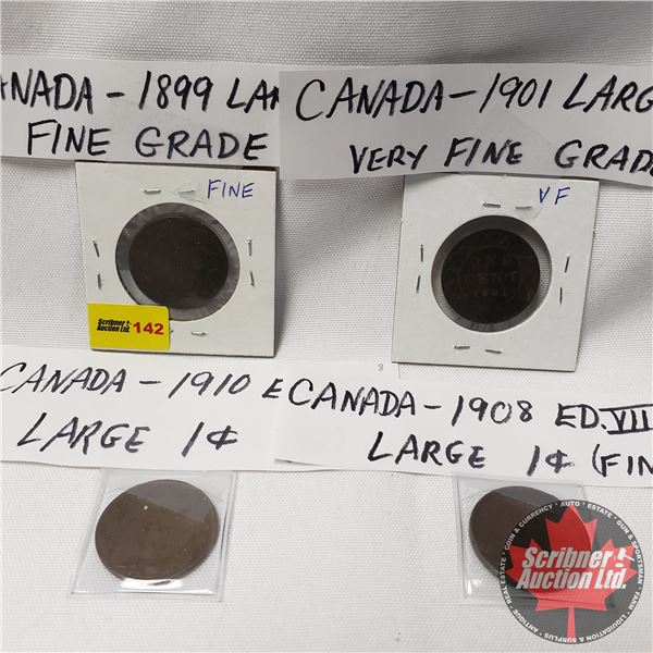 Canada Large Cents (4): 1899; 1901; 1908; 1910