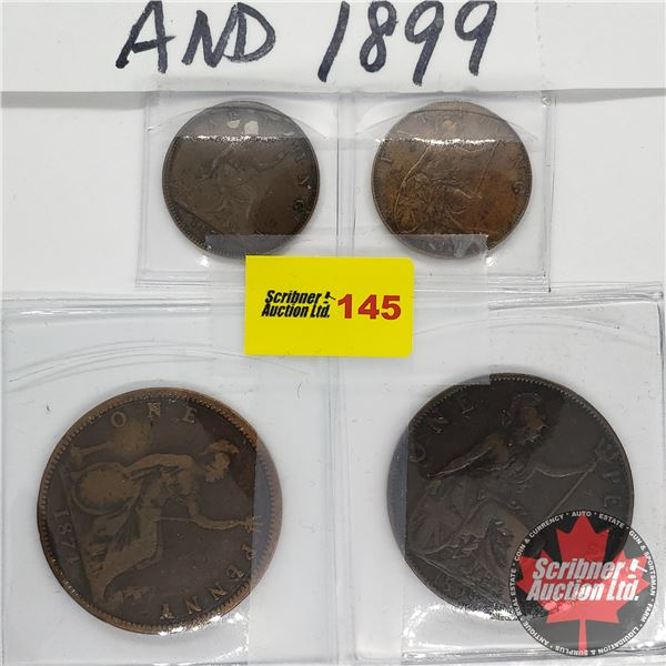 Britain (4) Old Victorian : 2 Farthings (1874H & 1897) AND 2 Pennies (1874H & 1899)