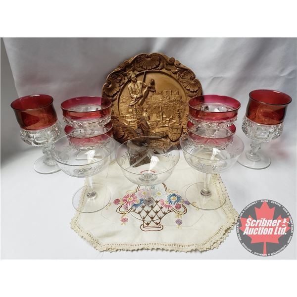"""Tray Lot: Cranberry Glass, Clear Glass, Dessert Cups, Wood Carved Décor Plate """"Salzburg"""", etc ! SEE"""