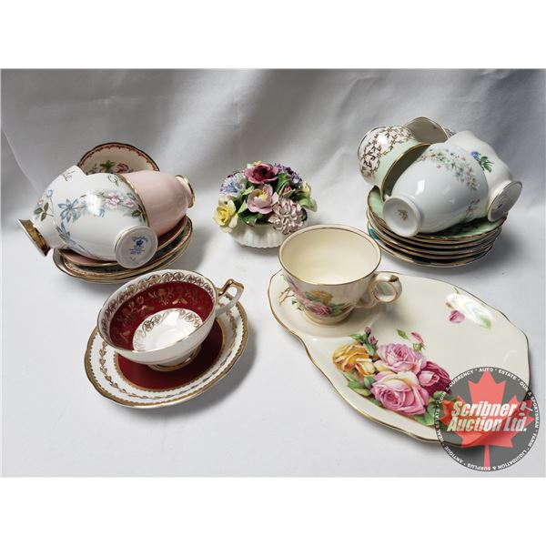 Tray Lot: 9 Tea Cups/Saucers, 2 Saucers, Snack Set & Royal Adderley Bone China Floral Ornament