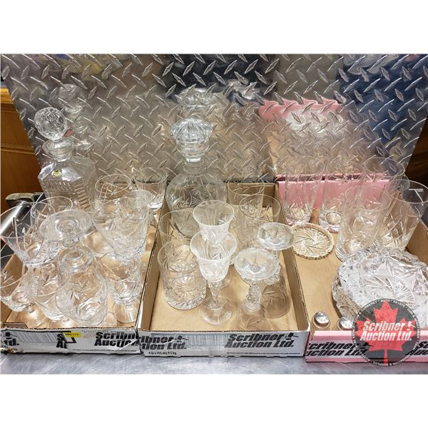 Large Variety of Pinwheel Crystal (Incl: Decanters, Ashtrays, Glasses, etc) (SEE PICS!)