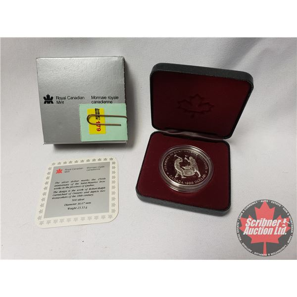 RCM Proof Dollar in Case: 250th Anniversary of the Saint-Maurice Ironworks 1988
