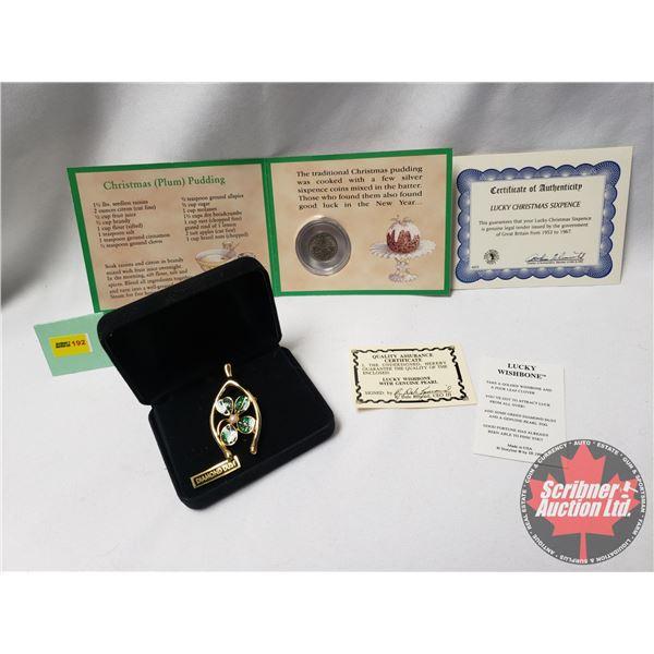 """Collector Combo: Lucky Christmas Sixpence 1967 w/COA & Lucky Wishbone - Four Leaf Clover """"Diamond Du"""