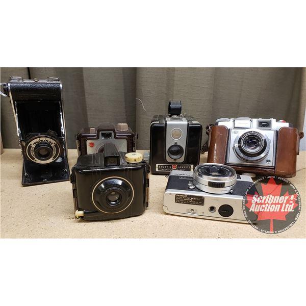 Vintage Cameras :  Brownie Kodak; Brownie Hawkeye; Baby Brownie; Konica C35 Camera; Zeiss 1K5NF Came
