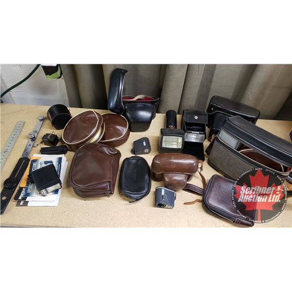 Tray Lot of Camera Accessories & Cases:  (3) Zeiss Ikon Stuttgart Flash Attachment with cases &  (1)