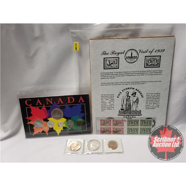 1939 Collector Combo: 1939 Medallions (3); Canada 1939 Coin Set & The Royal Visit of 1939 Stamps & P