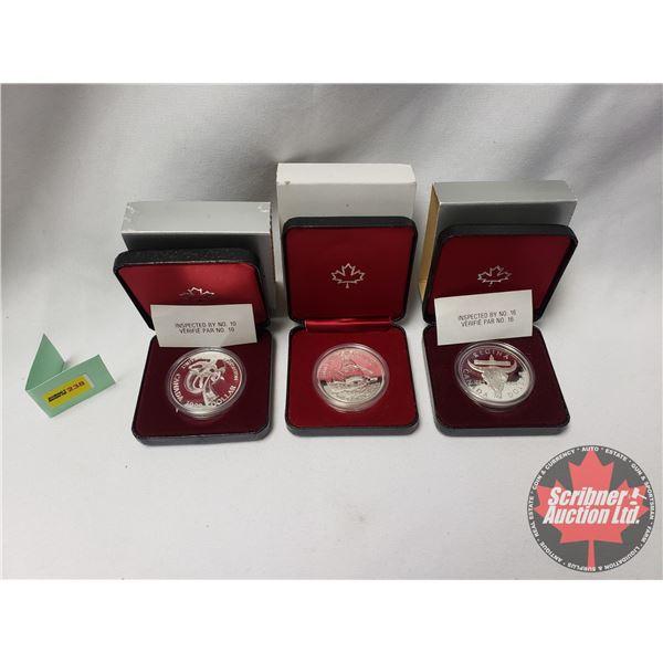 RCM Proof Dollars in Case ~ Collector Combo 3 Pack: 1882-1982 Regina; 1983 Edmonton; 1980 Canada; 16