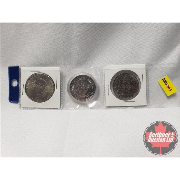 Odd Ball Grouping : US One Dollar 1972; Meadow Lake 50th Anniversary Token; Canada One Dollar Britis