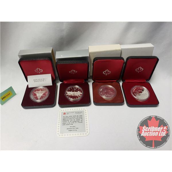 RCM Proof Dollars in Case ~ Collector Combo 4 Pack: 1834-1984 Toronto; 1882-1982 Regina; 1980 Canada