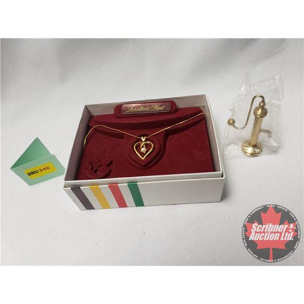 "Combo: Hudson's Bay ""Jonathan Hart"" Necklace (Heart/Pearl) &  Doll House Pump Vintage Mini Figurine"
