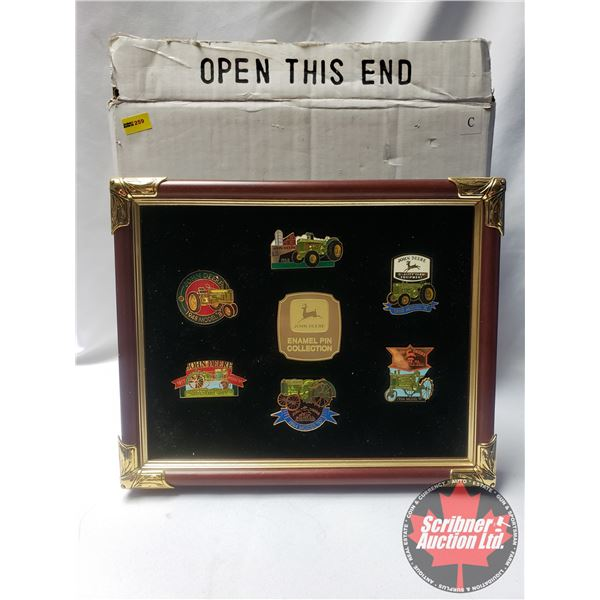 John Deere Enamel Pin Collection - Mounted & Framed! (SEE PICS!)