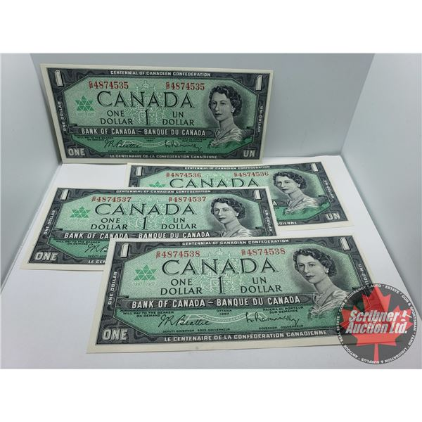 Canada $1 Bills 1967 CONSECUTIVE (4) : Beattie/Rasminsky GP4874535-36-37-38