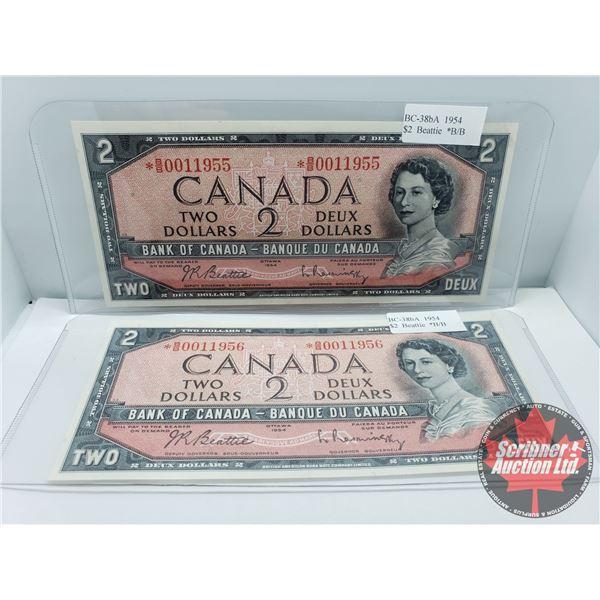 Canada $2 Bills 1954* CONSECUTIVE Replacements (2): Beattie/Rasminsky *BB0011955/11956