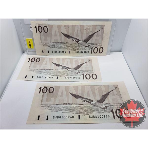 Canada $100 Bills 1988 CONSECUTIVE (3) : Thiessen/Crow BJB8100958-59-60