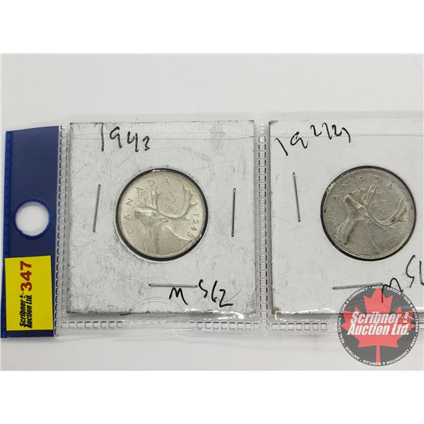 Canada Twenty Five Cent (2): 1943; 1944