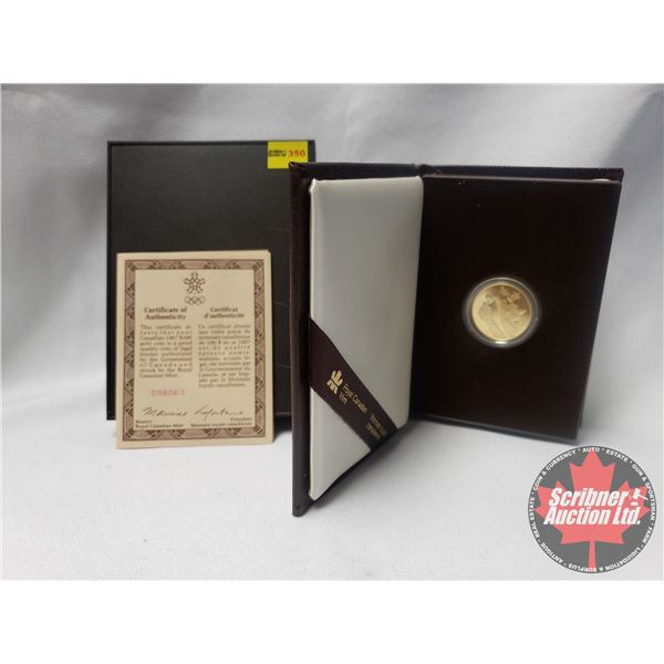RCM 1987 Canada $100 1988 Calgary Olympics 1/4 Troy Oz Of Pure Gold Proof Coin COA #098063