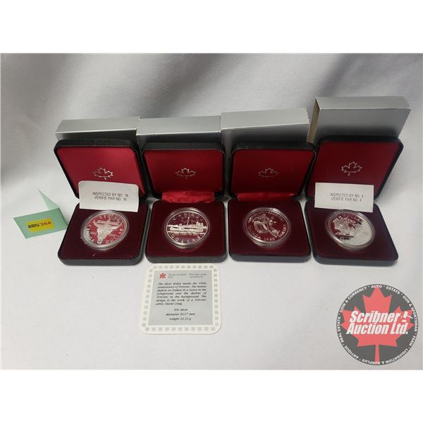 RCM Proof Dollars in Case ~ Collector Combo 4 Pack: 1981 Canada; 1983 Edmonton; 1834-1984 Toronto; 1