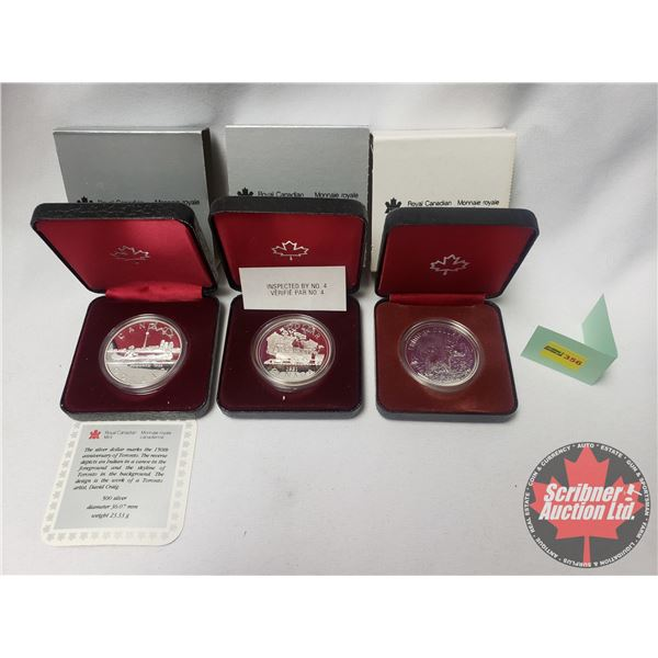 RCM Proof Dollars in Case ~ Collector Combo 3 Pack: 1834-1984 Toronto; Canada 1981; Canada 1980