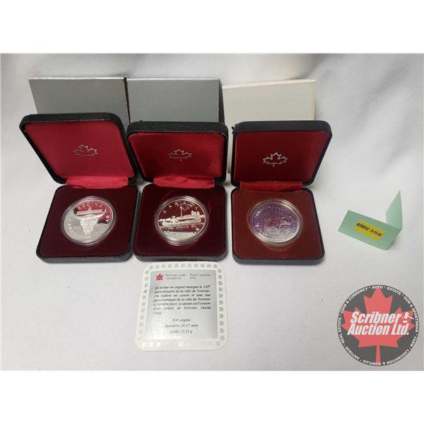 RCM Proof Dollars in Case ~ Collector Combo 3 Pack: Canada 1980; 1834-1984 Toronto; Regina 1882-1982