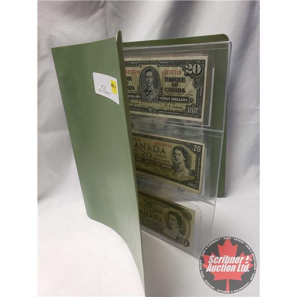Canada $20 Bills (6): 1937; 1954; 1969; 1979; 1991; 2004 (See Pics for Serial #'s & Signatures)