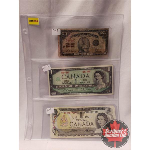 Canada Bills (3): 1923 Shinplaster ; 1967 Centennial $1 Bill ; 1973 $1 Bill (See Pics for Serial #'s
