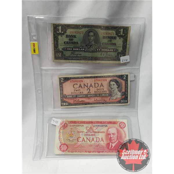 Canada Bills (3): 1937 $1 Bill ; 1954 $2 Bill ; 1975 $50 Bill (See Pics for Serial #'s & Signatures)