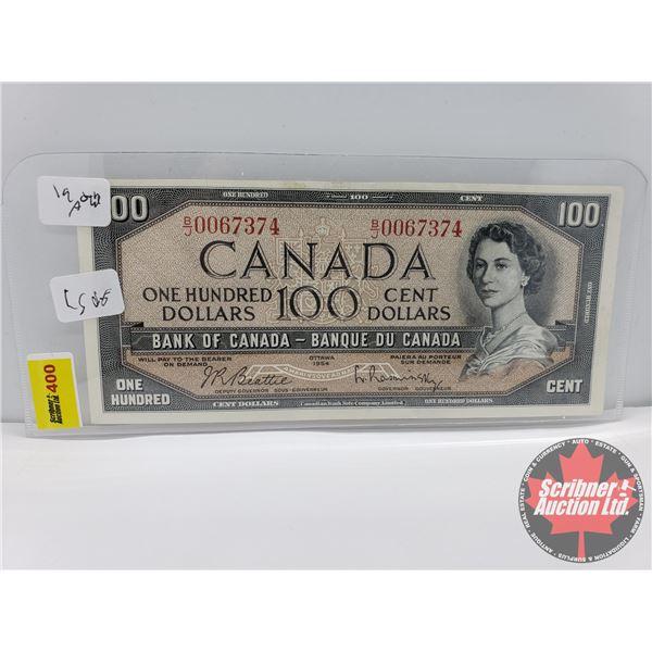 Canada $100 Bill 1954 : Beattie/Rasminsky #BJ0067374